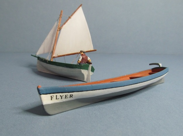 4 mm Scale Pilot Gig & Sail boat in White Natural Versatile Plastic