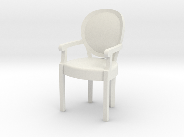 1:24 Louis XVI Armchair in White Natural Versatile Plastic