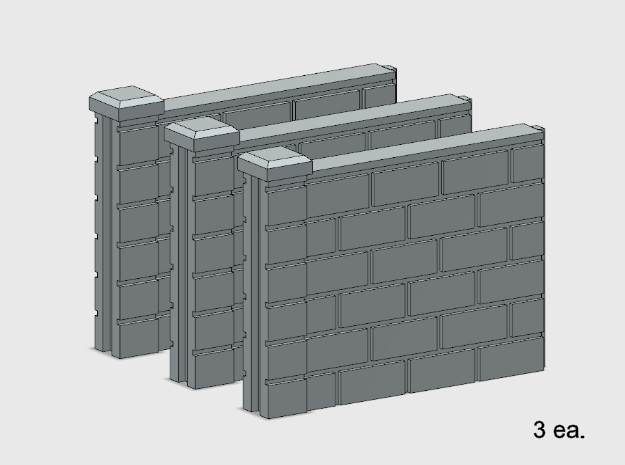 5' Block Wall - 3-Short Jointed Sections in White Natural Versatile Plastic: 1:87 - HO
