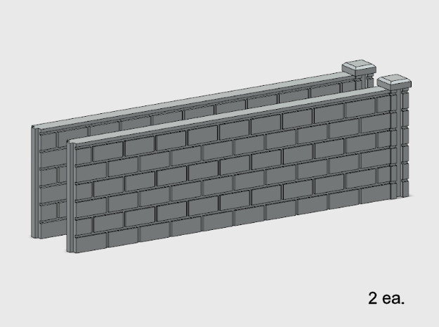 5' Block Wall - 2-Long R/S Jointed Intersections in White Natural Versatile Plastic: 1:87 - HO