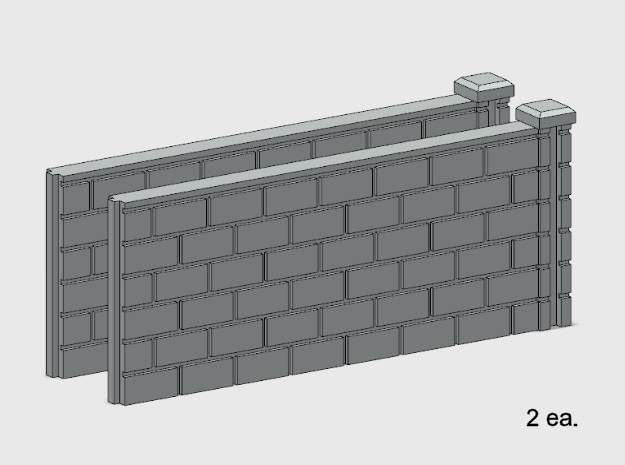 5' Block Wall - 2-Med R/S Jointed Intersections in White Natural Versatile Plastic: 1:87 - HO
