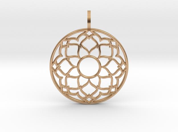 Flower Mandala Pendant in Polished Bronze