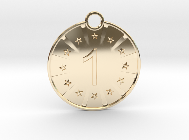 Medaille Gold in 14k Gold Plated Brass