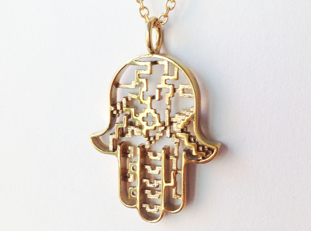 Hamsa Pendant in Polished Brass