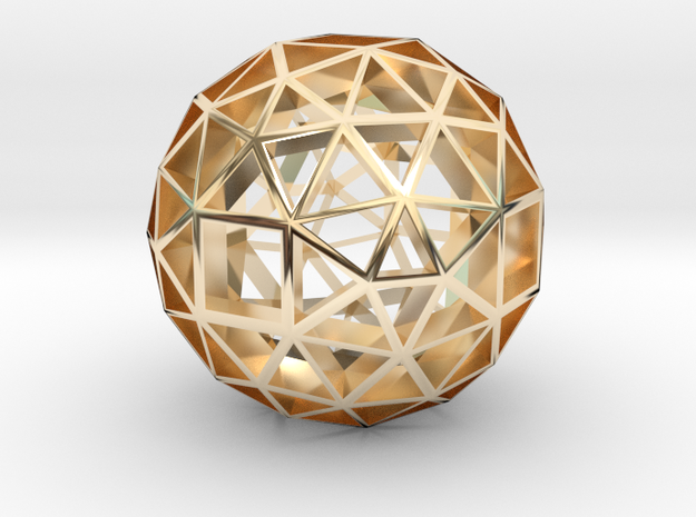 13mm f134 skeletal polyhedron lawal solids gmtrx  in 14k Gold Plated Brass