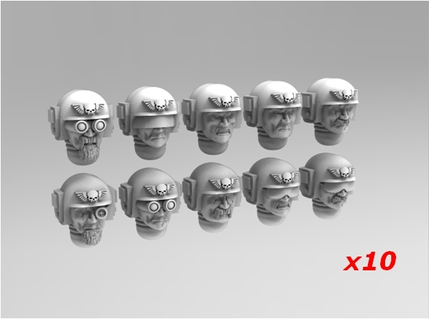 Imperial Soldier Heads Set 5 10x Mix in Smoothest Fine Detail Plastic