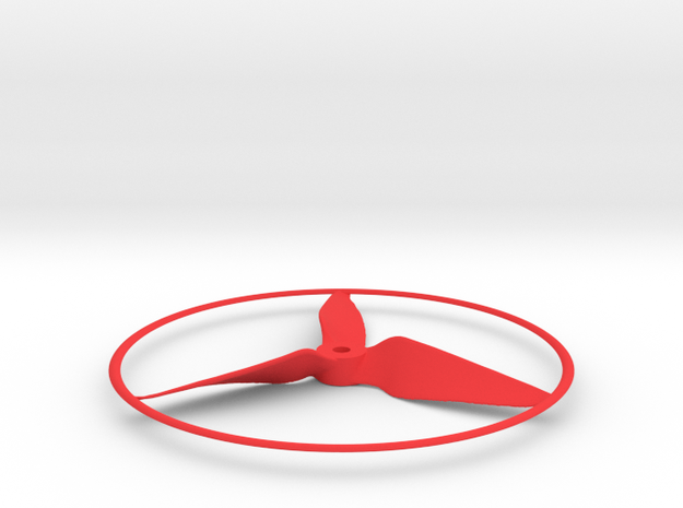 """Drone Propeller - 5"""" CCW Puller With Rim in Red Processed Versatile Plastic"""