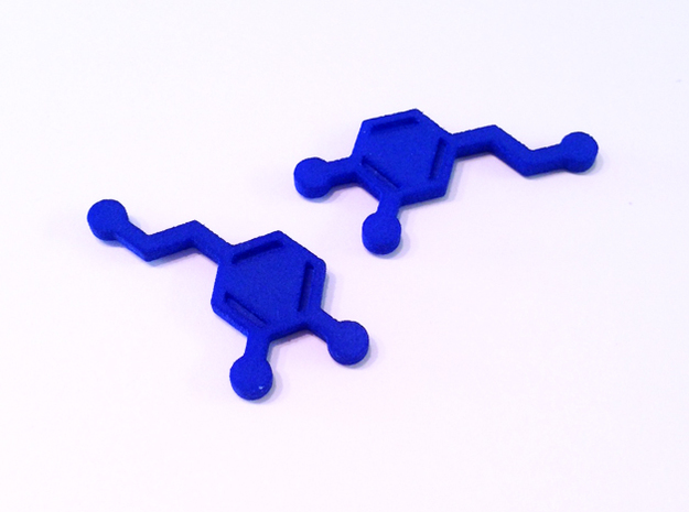 Dopamine Molecule Earrings in Blue Processed Versatile Plastic