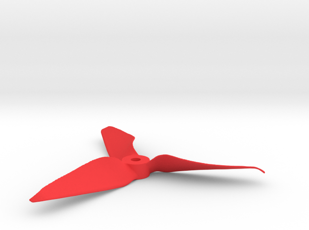 """Drone Propeller - 5"""" CCW Pusher in Red Processed Versatile Plastic"""