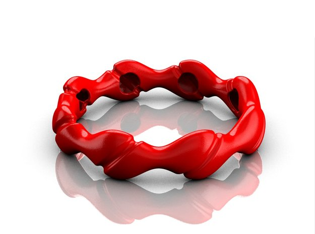 Wave bracelet 75 in Red Processed Versatile Plastic
