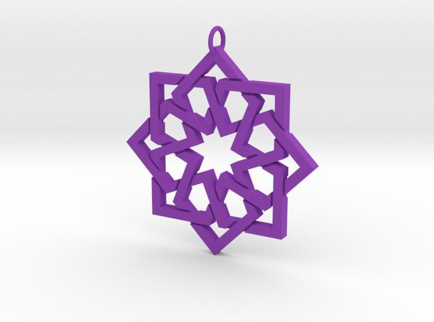 Simple Girih Pendant in Purple Processed Versatile Plastic