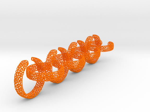 voronoi ring chain 18.92 mm in Orange Processed Versatile Plastic