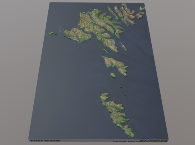 Faroe Islands Relief Map: 1:300,000 Scale in Natural Full Color Sandstone