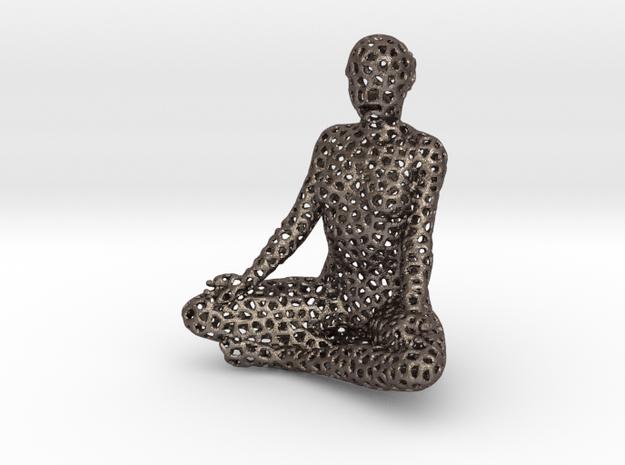 Voronoi meditation in Polished Bronzed-Silver Steel