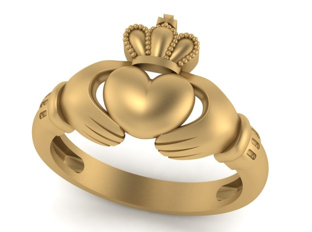 Irish Claddagh ring in Polished Bronzed Silver Steel