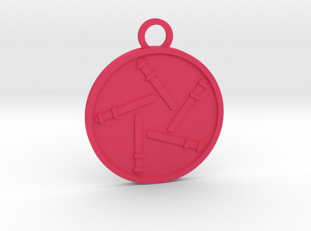 Five of Wands in Pink Processed Versatile Plastic