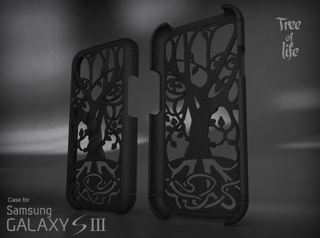 """Samsung - Galaxy S3 """"Tree of life"""" Cover Case in Black Natural Versatile Plastic"""