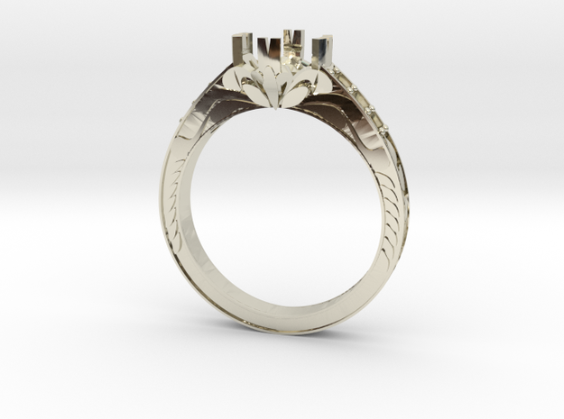 Cut Out Ring With Designs in 14k White Gold