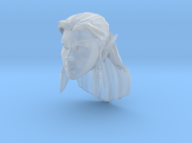 Elf Head Female 1 in Smooth Fine Detail Plastic