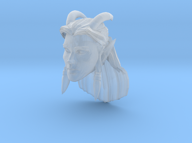 Elf Female Horned Head 1 in Smooth Fine Detail Plastic