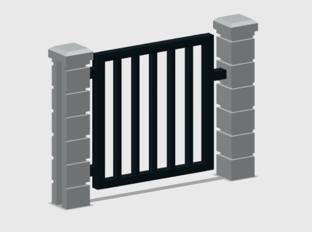 Block Wall - Rod Iron Man Gate-1 in White Natural Versatile Plastic: 1:87 - HO
