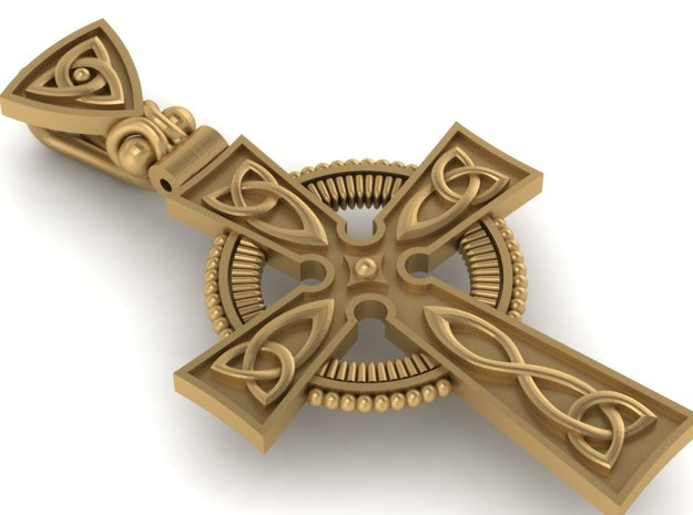 Irish Cross in Polished Bronzed Silver Steel