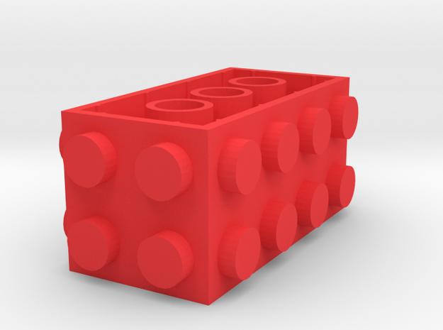 Custom LEGO-inspired brick 4x2x2 in Red Processed Versatile Plastic