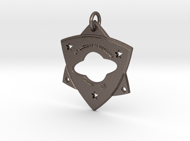 """TCR-""""Light in Darkness,"""" PENDANT  in Polished Bronzed-Silver Steel: Small"""