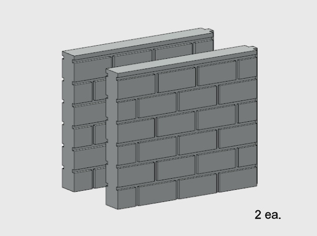 Block Wall - Butt Wall - S2 in White Natural Versatile Plastic: 1:87 - HO