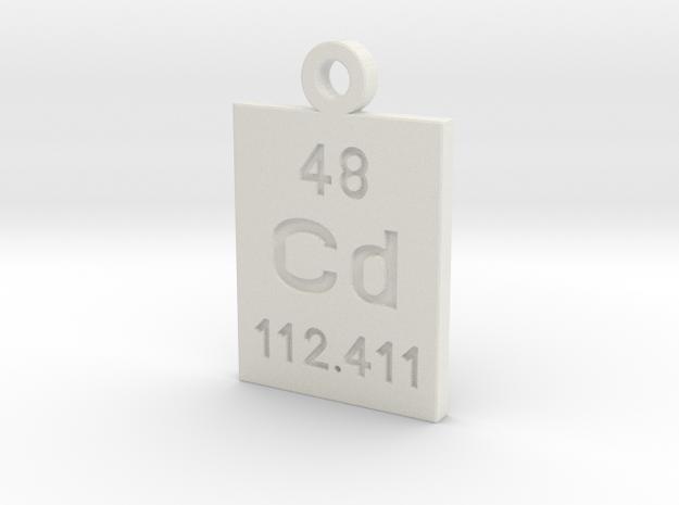 Cd Periodic Pendant in White Natural Versatile Plastic