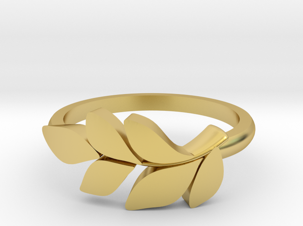 Leafy Ring  in Polished Brass