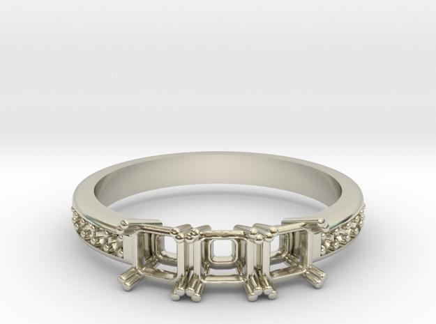 3 Stone Princess Cut Band  in 14k White Gold