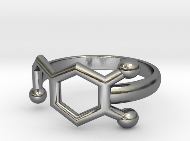 Dopamine Molecule Ring Minimal in Polished Silver: 3.5 / 45.25