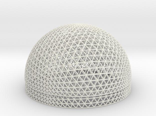 Geodesic Sphere, 2 hemispheres in White Natural Versatile Plastic