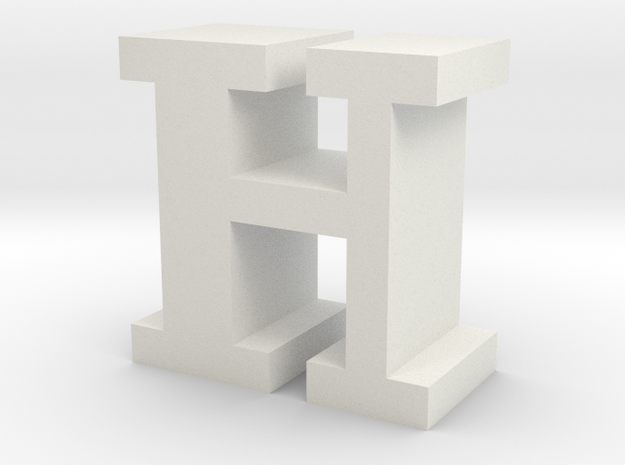 """H"" inch size NES style pixel art font block in White Natural Versatile Plastic"