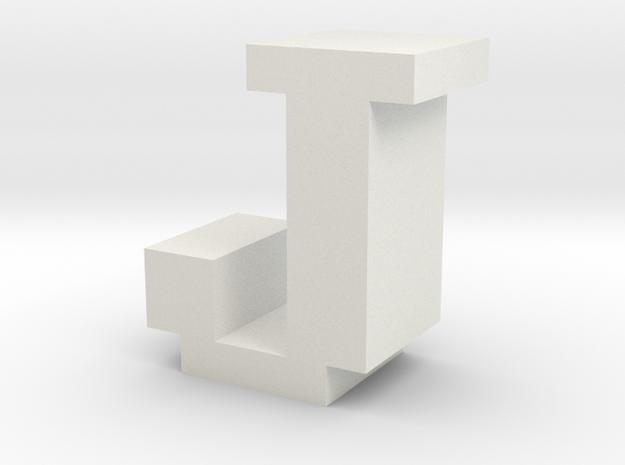 """J"" inch size NES style pixel art font block in White Natural Versatile Plastic"
