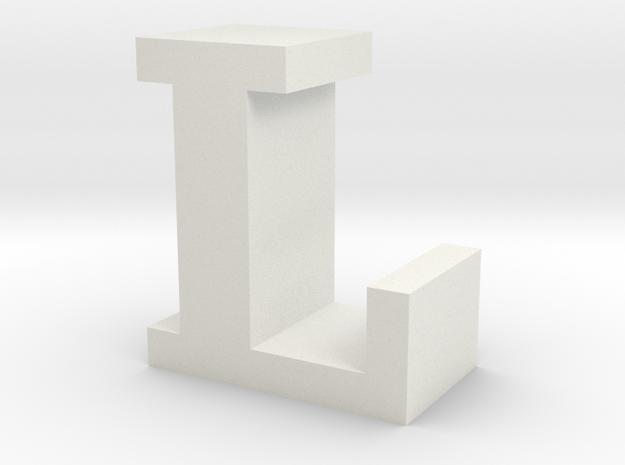 """L"" inch size NES style pixel art font block in White Natural Versatile Plastic"