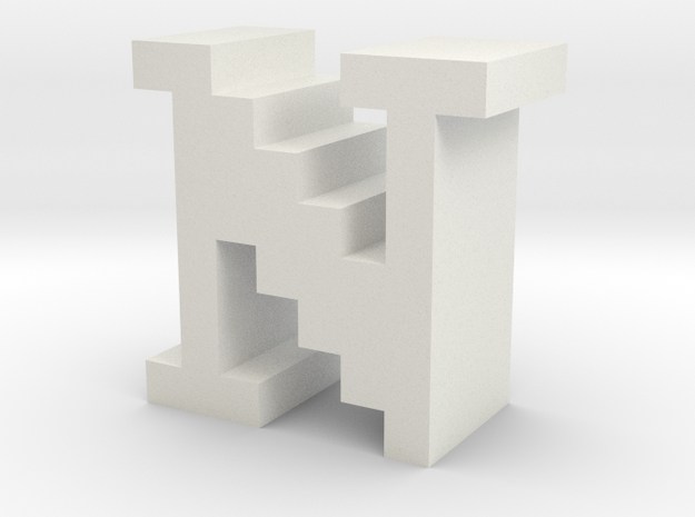 """""""N"""" inch size NES style pixel art font block in White Natural Versatile Plastic"""