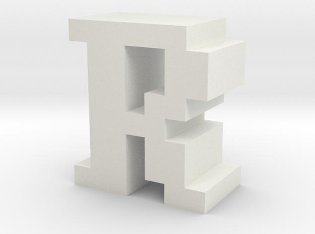 """R"" inch size NES style pixel art font block in White Natural Versatile Plastic"