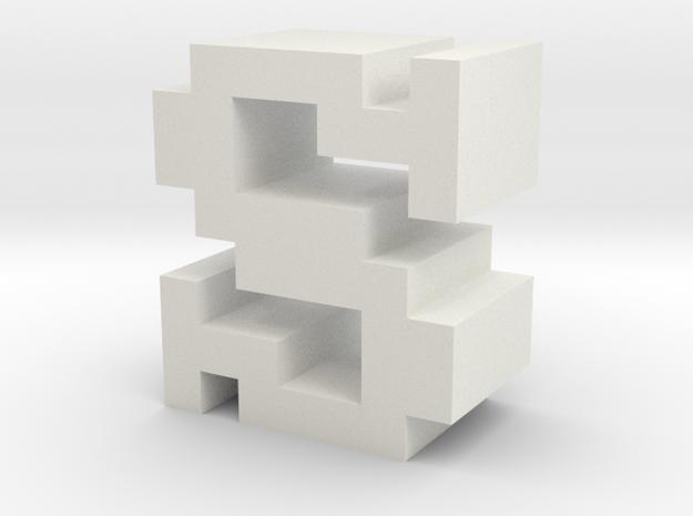 """S"" inch size NES style pixel art font block in White Natural Versatile Plastic"