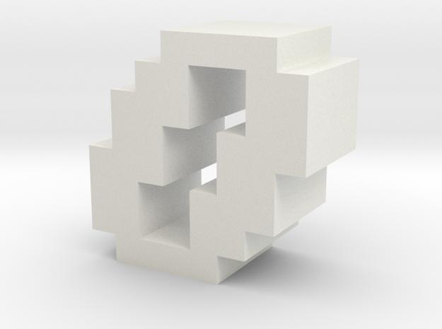 """0"" inch size NES style pixel art font block in White Natural Versatile Plastic"