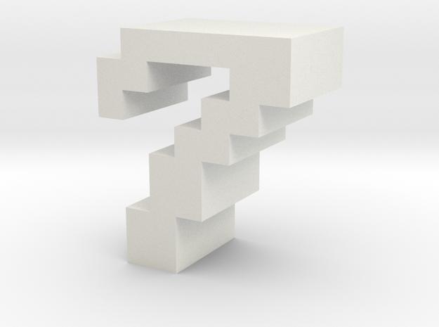 """7"" inch size NES style pixel art font block in White Natural Versatile Plastic"