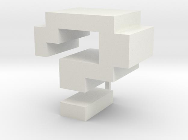 """?"" inch size NES style pixel art font block in White Natural Versatile Plastic"