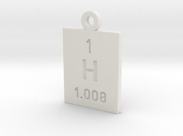 H Periodic Pendant in White Natural Versatile Plastic