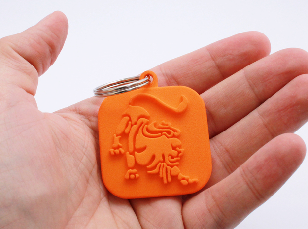 Keychain zodiac Lion (single color) in Orange Processed Versatile Plastic