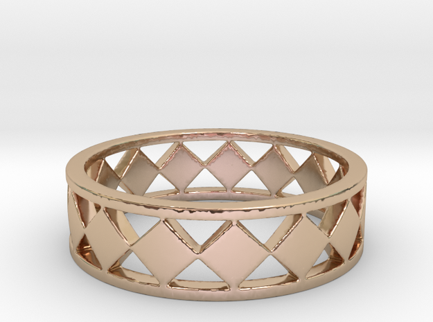 Diamond Barred Ring Band in 14k Rose Gold: 7 / 54