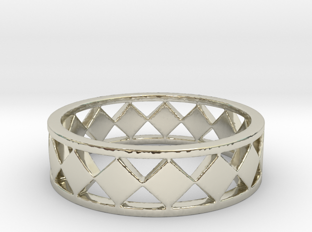 Diamond Barred Ring Band in 14k White Gold: 7 / 54