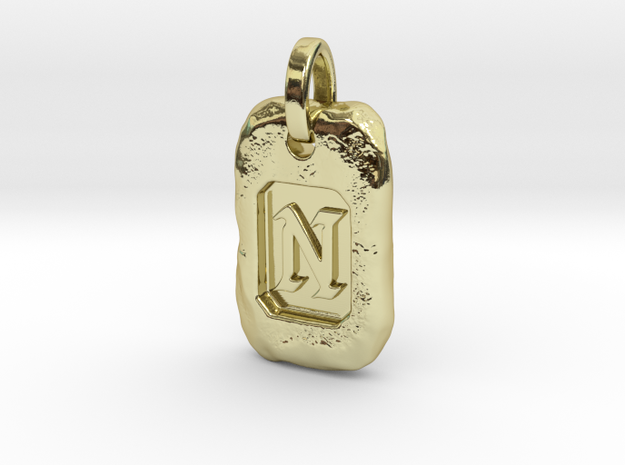 Old Gold Nugget Pendant N in 18k Gold Plated Brass