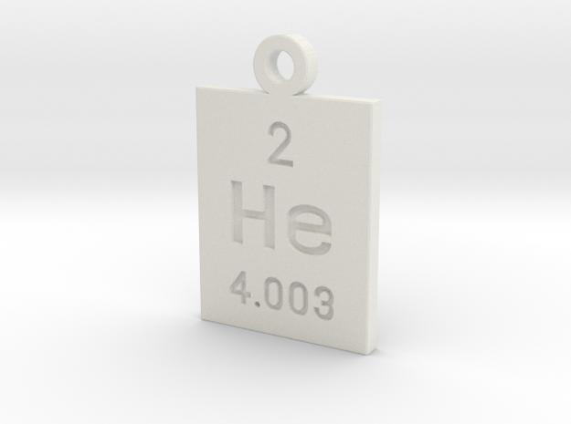 He Periodic Pendant in White Natural Versatile Plastic