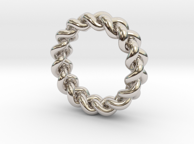 Simple Braided Ring in Rhodium Plated Brass: 6 / 51.5